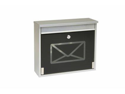 Poštovní schránka BK60CG.S - stříbrná, černé sklo