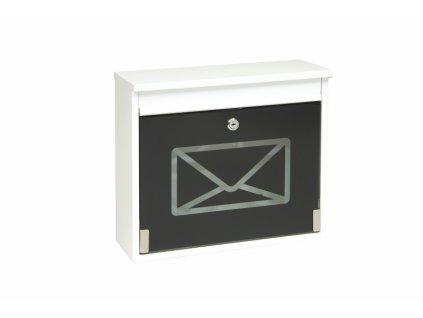 Poštovní schránka BK60CG.B - bílá, černé sklo