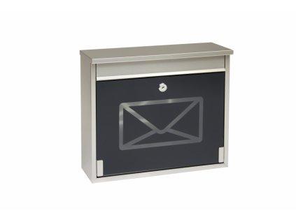 Poštovní schránka Richter BK60CG.N - nerez, černé sklo
