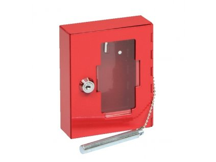 Ocelová skříňka se sklem - s kladívkem