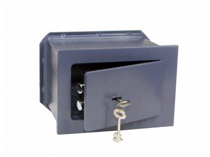 Ocelový sejf s mechanickým zámkem pro zazdění do stěny RS19.K