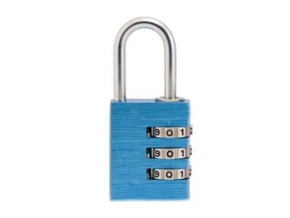 Hliníkový visací kódový zámek - modrý