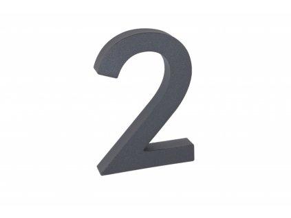 Domovní číslo - 2, ANTRACIT 3D, 100 mm