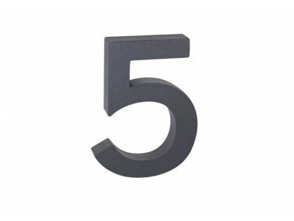 Domovní číslo - 5, ANTRACIT 3D, 100 mm