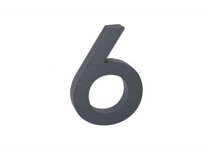 Domovní číslo - 6, ANTRACIT 3D, 100 mm