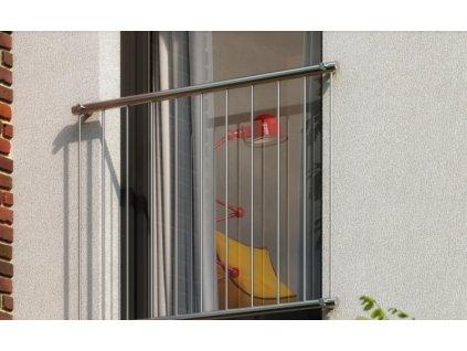 DOMYS-eshop: Nerezové zábradlí pro francouzská okna se svislými pruty PHOENIX