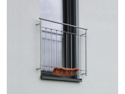 Nerezový set zábradlí pro francouzská okna SVISLÉ příčky - šířka 150 cm