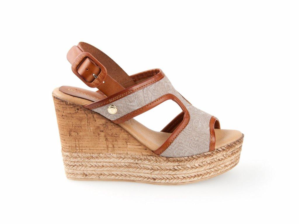 dámské kožené sandály na platformě