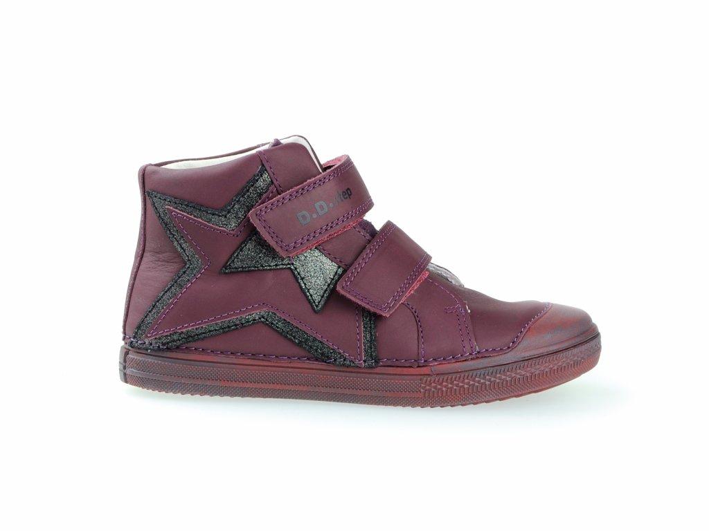 kožené podzimní boty na suchý zip pro holky