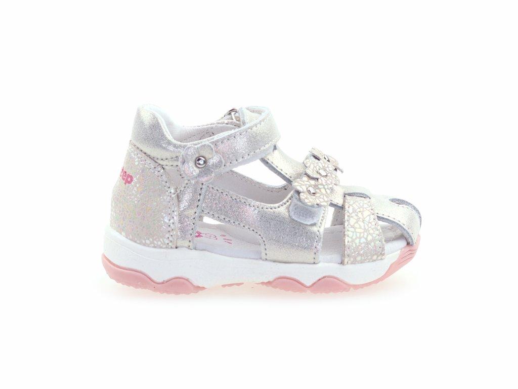 kožené sandálky stříbrné