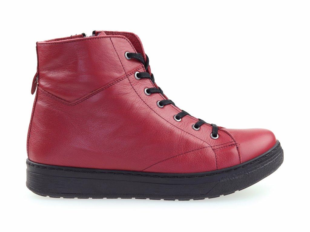 kožené kotníkové boty, červené, dámské