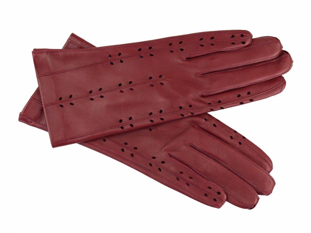 dámské kožené rukavice perforované, vínové