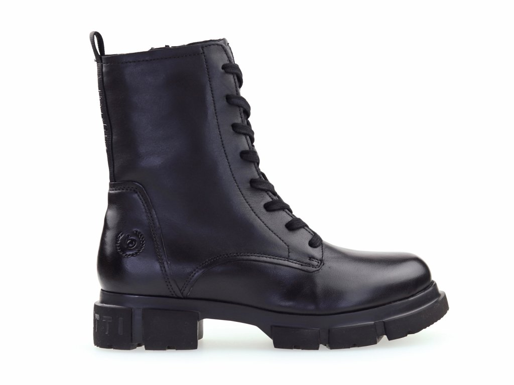 dámské černé kožené kotníkové boty na platformě
