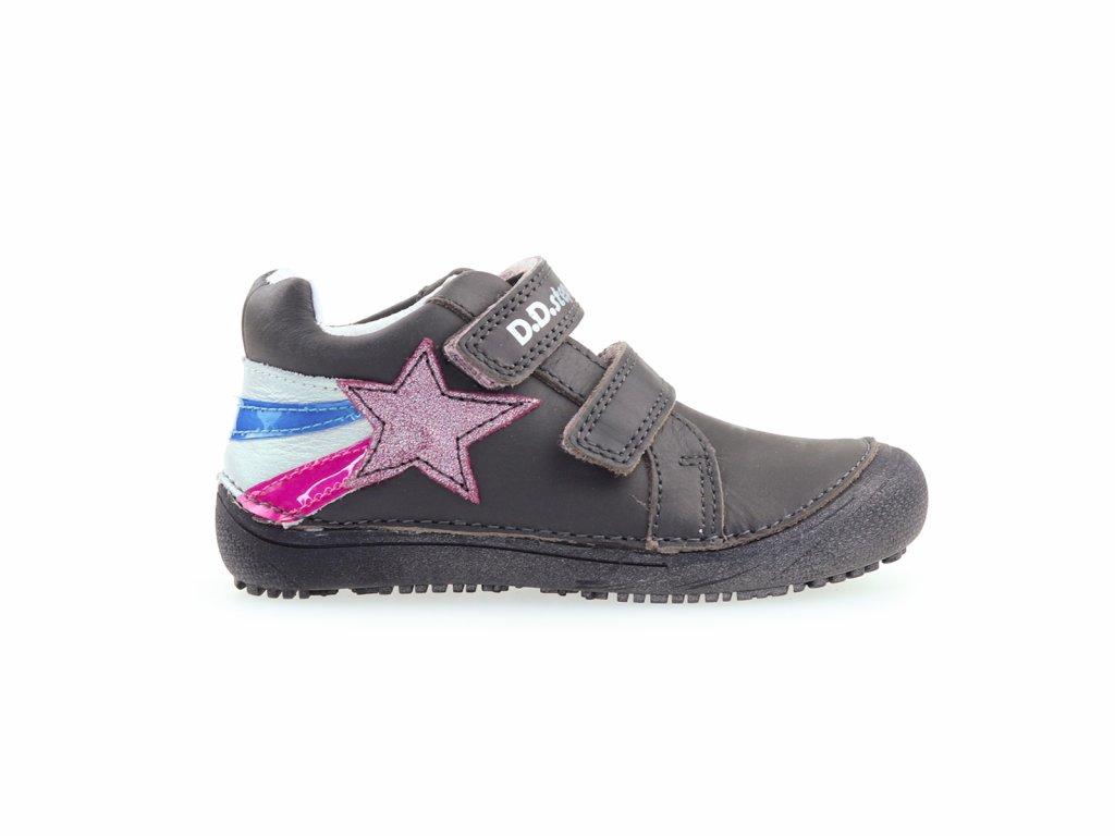 kožené kotníkové boty suchý zip, dívčí barefoot