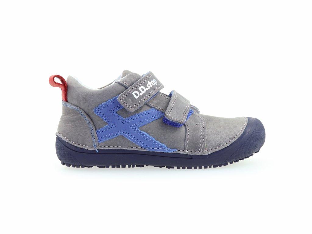 chlapecké kožené kotníkové barefoot boty, se zapínáním na suchý zip