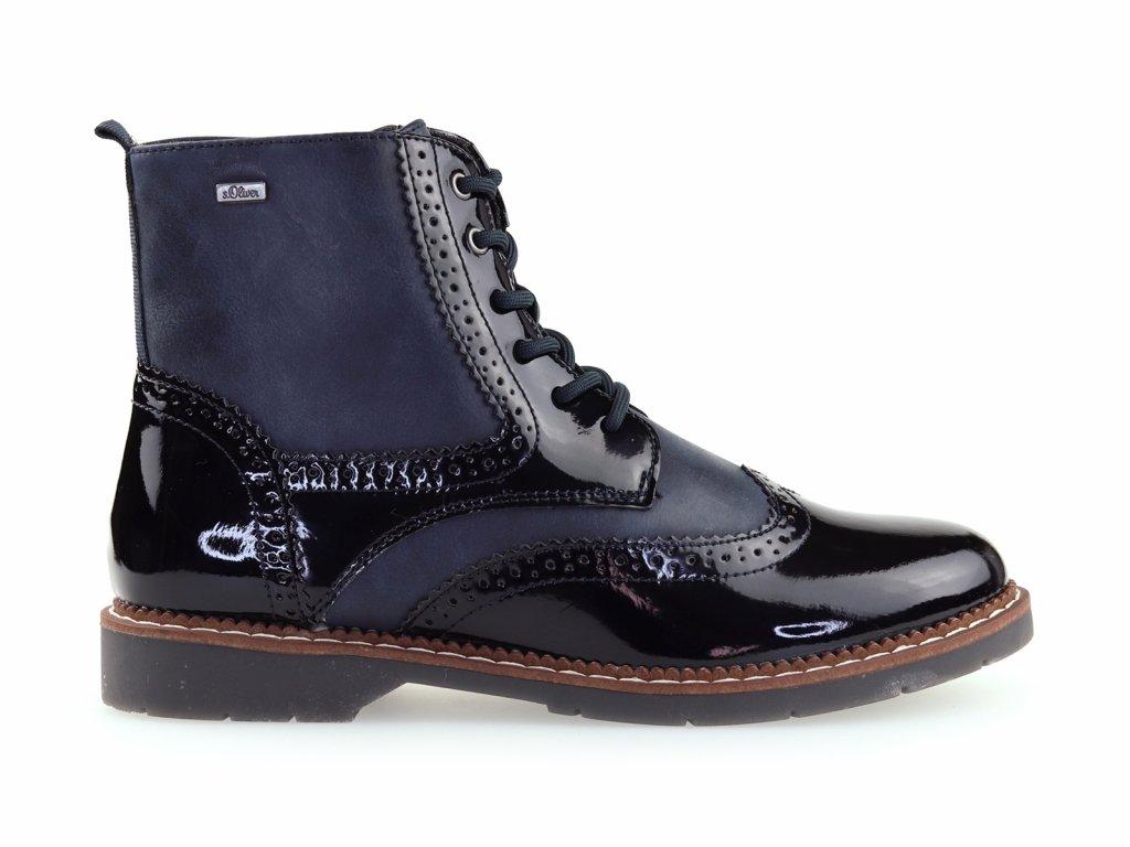 dámské modré oxford boty, lesklé