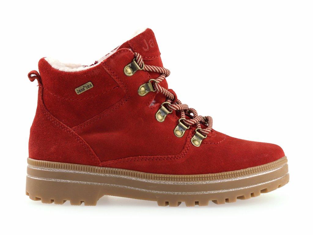 dámské kožené kotníkové boty s kožíškem, červené
