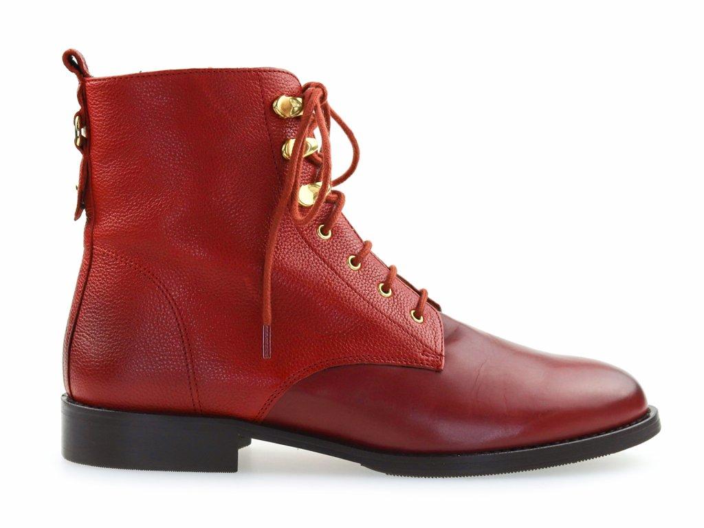 kožené kotníkové boty šněrovací