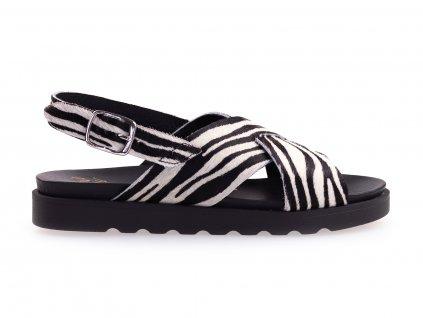 černo bílé sandály zebra
