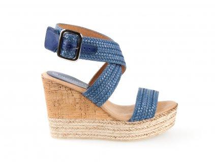 dámské kožené sandály, modré