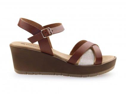 dámské hnědé sandály na platformě