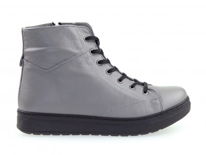 šedé dámské kotníkové boty, kožené