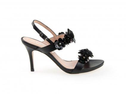 dámské sandály na podpatku, černé
