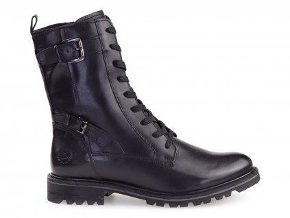 zimní dámské kožené boty s kožíškem, černé
