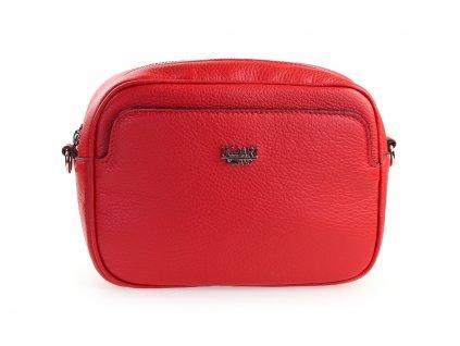 italská kožená kabelka, červená