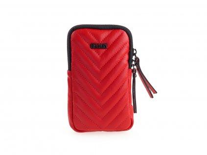 červená kožená kabelka na mobil