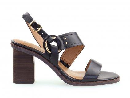 černé kožené boty na podpatku
