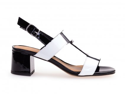 černo bílé sandály na podpatku