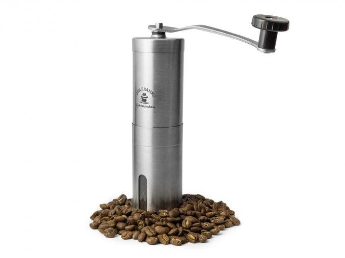 nerezový ruční mlýnek Don Franko na zrnkovou kávu