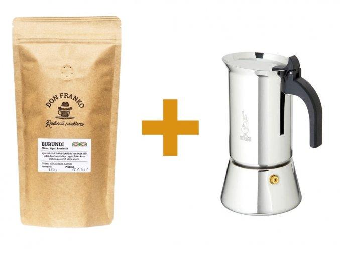 Moka konvička Bialetti Venus 100 ml a pražená káva z rodinné pražírny Don Franko