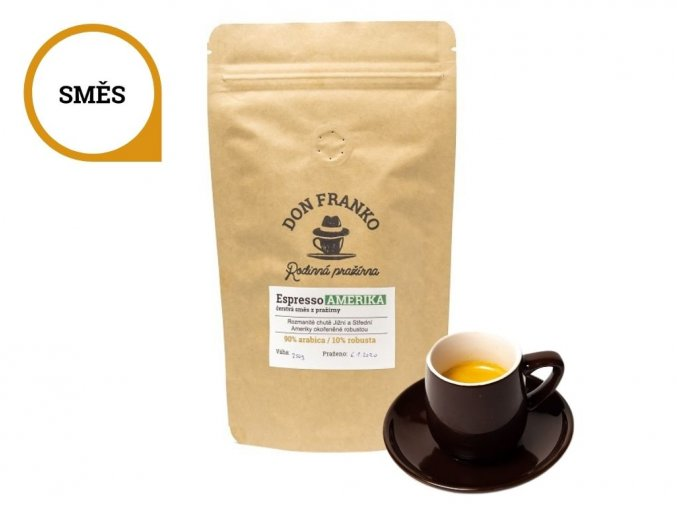 Espresso amerika čerstvě upražená směs 100 procentnich arabik
