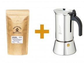 Moka konvička Bialetti Venus 200 ml a pražená káva z rodinné pražírny Don Franko