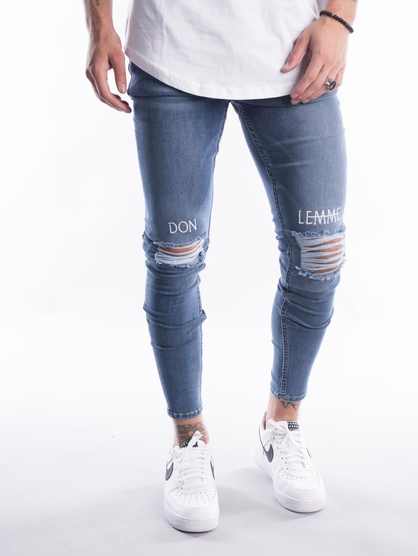 Džíny Knee Embroidery - Blue