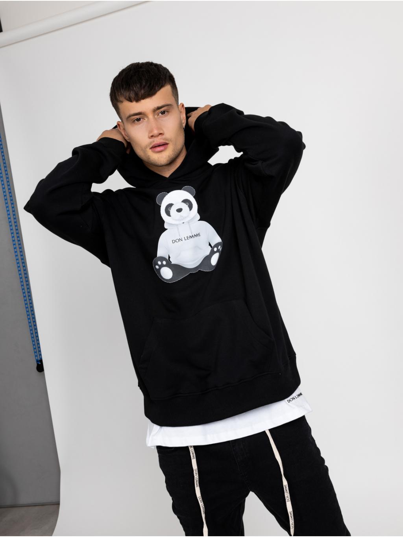 Oversized Mikina Panda - černá