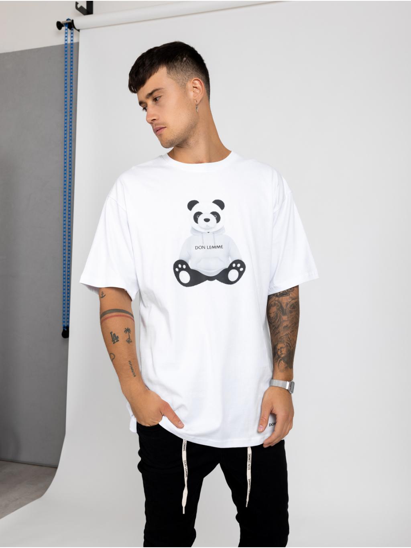 Oversized Tričko Panda - bílé