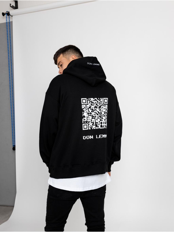 Oversized Mikina QR Code - černá