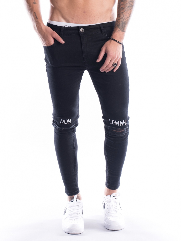 Džíny Knee Embroidery - Black (Velikost 34S)