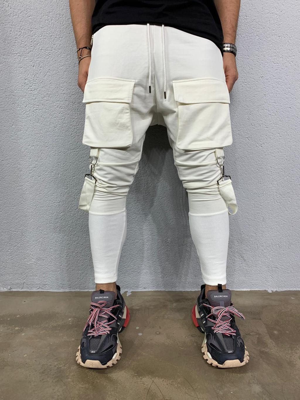 Pantaloni de trening Cash - albi