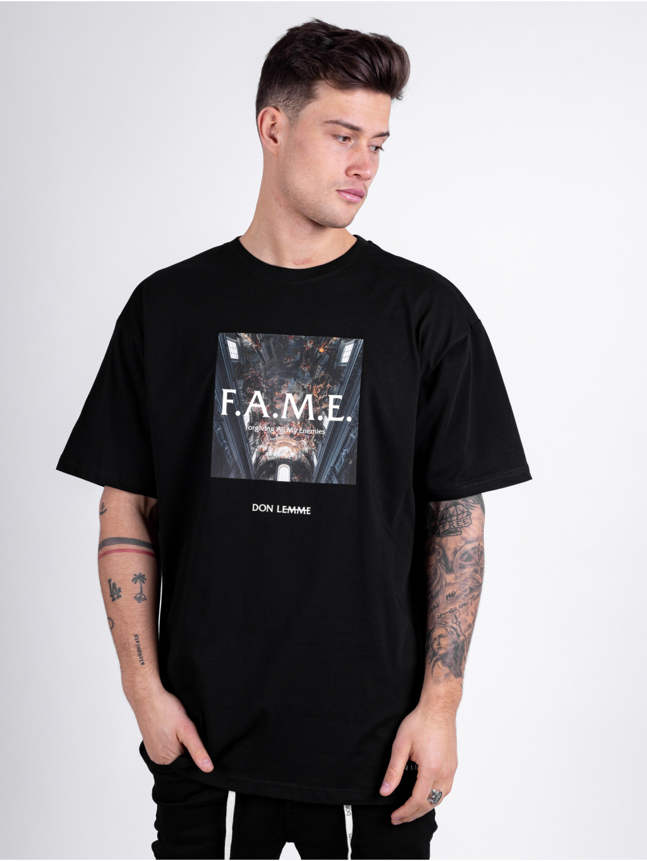 Oversized Tričko Fame - čierné