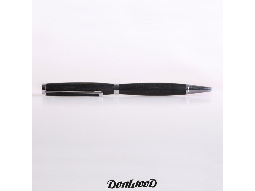 Eben dřevěné kuličkové pero stříbrné