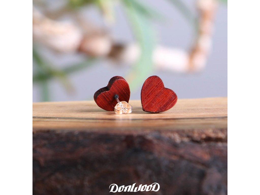 drevene nausnice srdce redwood