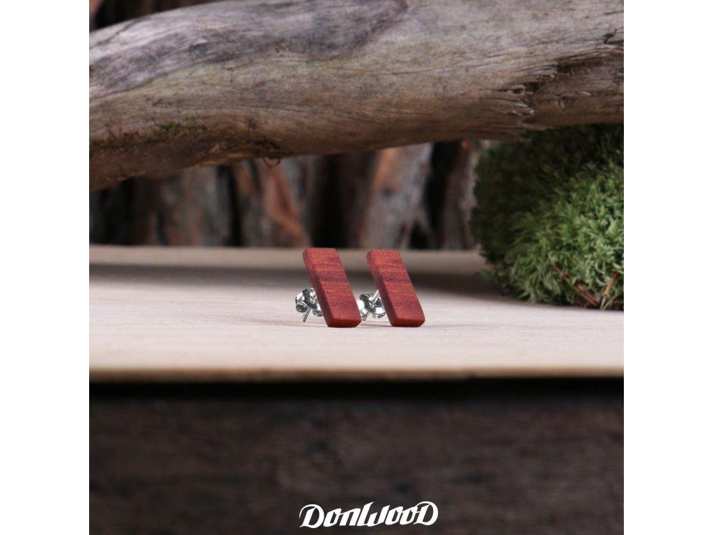 drevene nausnice obdelniky redwood