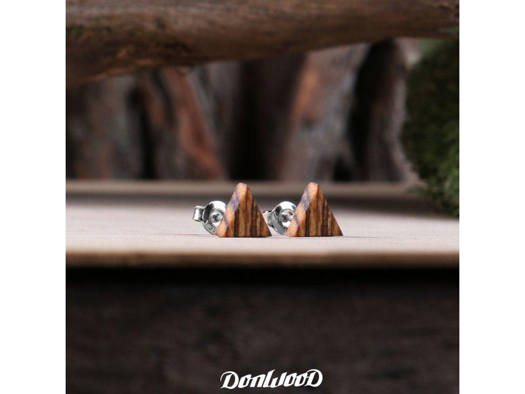 drevene nausnice trojuhelniky bocote