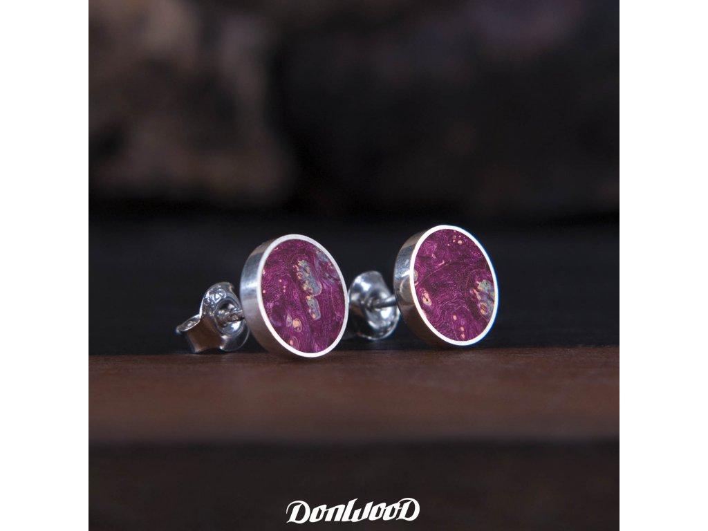 Donwood dřevěné naušnice fialová