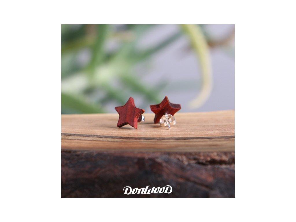 drevene nausnice hvezdicky