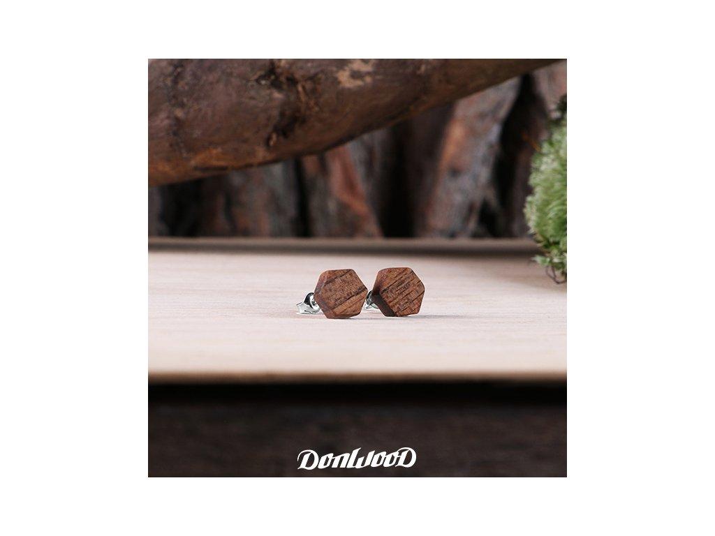 šestiuhelnikove nausnice hnede donwood